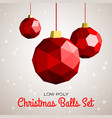 low poly merry christmas balls vector image vector image