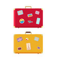 luggage traveling bags with stickers set vector image vector image