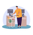 man with credit card at shop payment terminaltill vector image