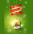 merry christmas with reindeer in christmas ball vector image vector image