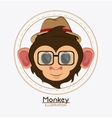 Monkey face glasses hat cartoon animal design vector image