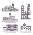 montenegro retro buildings in thin line religion vector image vector image