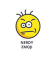 nerdy geek emoji line icon sign vector image