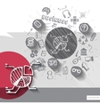 Paper and hand drawn chart emblem with icons vector image