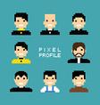 pixel people avatar set vector image