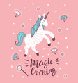 poster with unicorn magic wand and crystal on the vector image