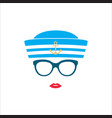 sailor girl in blue striped hat vector image vector image