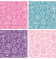 seamless patterns with linear diamond icons vector image vector image