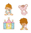 set babies bays with feeding bottles and teddy vector image vector image
