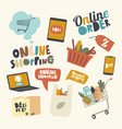 set icons online shopping theme laptop vector image