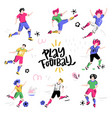 set of football players with lettering vector image