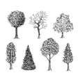 Set of ink hand drawn black and white trees vector image vector image