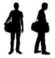 silhouettes men with luggage vector image