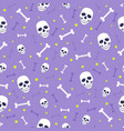 skull and bone seamless pattern on purple vector image vector image