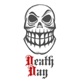 Smirking skull with raised eyebrow and large teeth vector image