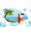 surfing girl on a beach vector image vector image