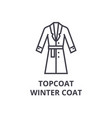topcoat winter coat line icon outline sign vector image