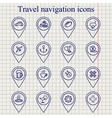 Travel navigation ink icons set vector image vector image