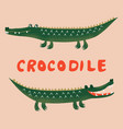 two cute cartoon crocodiles funny kids print vector image