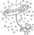 ufo takes cow pop art style vector image vector image