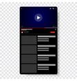 video player template design mockup live stream vector image