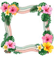 watercolor wooden wavy frame with tropical flowers vector image vector image