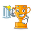 with juice champion golden trophy on cartoon table vector image