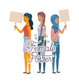 women with label female power character vector image
