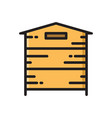 wooden beehive bee hive thin line flat style icon vector image vector image