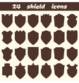 24 shield icons Set of different shield shapes vector image vector image