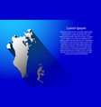abstract map of bahrain with long shadow on blue vector image vector image