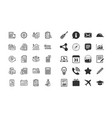 accounting line icons set of calculation check vector image