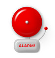 alarm bell red realistic icon fire safety signal