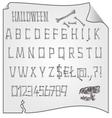Alphabet from bones Halloween mystery fonts vector image