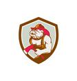 Bulldog Fireman With Axe Shield Retro vector image vector image
