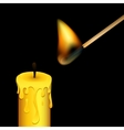Burning match and candle on black background vector image vector image