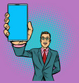 businessman shows a smartphone vector image vector image