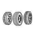 car wheels set sketch engraving vector image