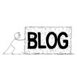 cartoon man or blogger pushing big piece or vector image vector image