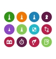Chess figures circle icons on white background vector image