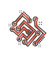 circuit board icon in comic style technology vector image vector image