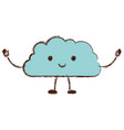 cloud cartoon kawaii in colorful blurred vector image vector image
