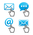 Contact - envelope email with cursor hand vector image vector image