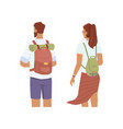 couple people with backpacks tourist travelers vector image