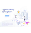 cryptocurrency marketplace isometric landing page vector image vector image
