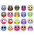 cute owl collection vector image vector image