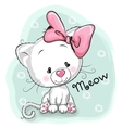 Cute White kitten vector image vector image