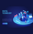 digital and internet technology dark neon light vector image vector image