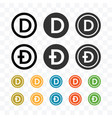dogecoin icon with different style and colors vector image vector image