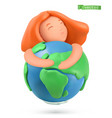 earth day icon little girl hugs planet 3d vector image